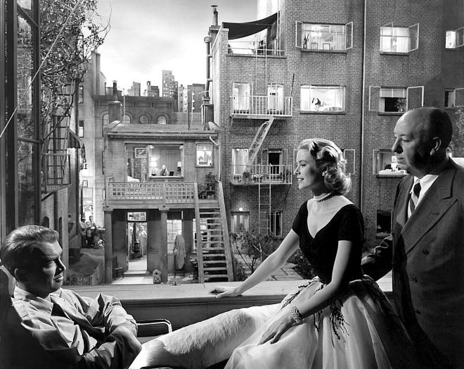 grace kelly and james Steward and hitchcock